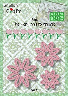 Nellies Choice Dies On the waterside - bloemen SNCD001 36x36mm/30x30mm/23x23mm