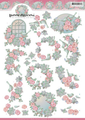 CD11152 3D Knipvel -Yvonne Creations -Birds and roses