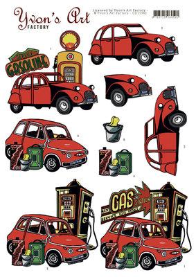 CD11342 3D Knipvel -Yvon's Art - Red Cars