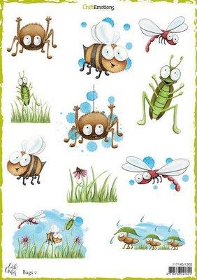 1302 CraftEmotions Decoupage vellen Bugs 2 A4 170 grm Carla Creaties