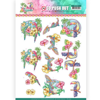 SB10364 3D Pushout - Yvonne Creations - Happy Tropics - Exotic Birds