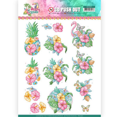 SB10362 3D Pushout - Yvonne Creations - Happy Tropics -Tropical Flowers