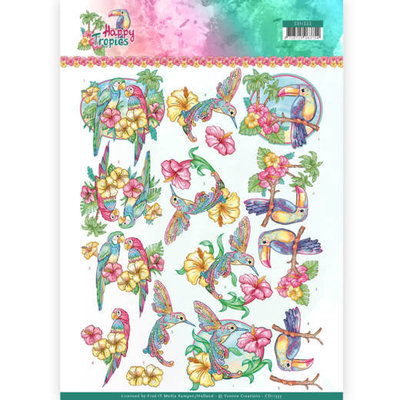 CD11333 3D Knipvel - Yvonne Creations - Exotic Birds