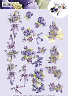 CD11243 3D Knipvel - Precious Marieke - Flowers in Purple