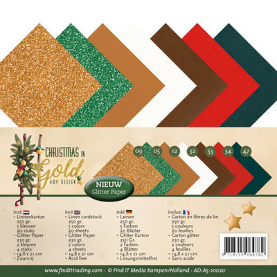 AD-A5-10020 Linnenpakket - A5 - Amy Design - Christmas in Gold