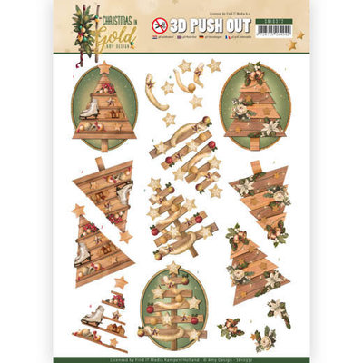 SB10372 3D Pushout - Amy Design - Christmas in Gold - Trees in Gold