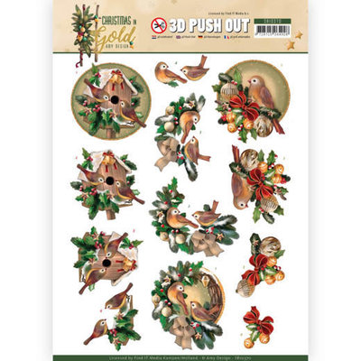 SB10370 3D Pushout - Amy Design - Christmas in Gold - Birds in Gold