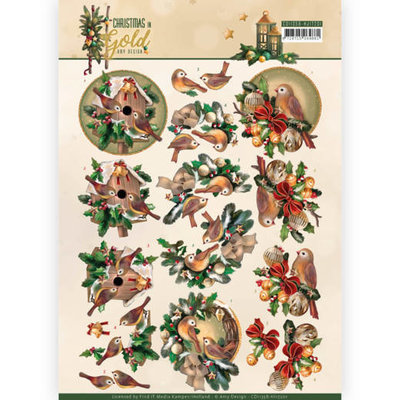 CD11358-HJ17201 3D Knipvel - Amy Design - Christmas in Gold - Birds in Gold