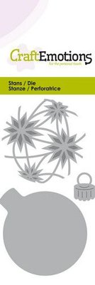 CraftEmotions Die - kerstbal rond met sterren Card 5x10cm – 4,5x6cm
