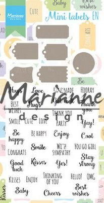 Marianne D Stamp & Die set Mini labels (Eng) CS1029