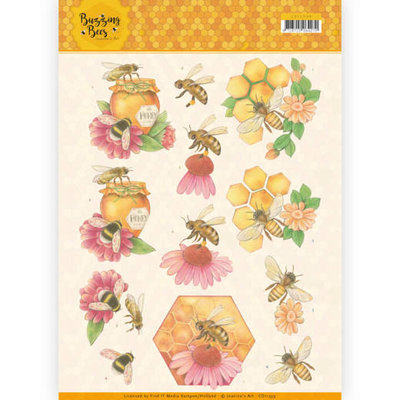 CD11339 3D knipvel - Jeanines Art - Buzzing Bees - Honey Bees