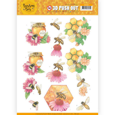 SB10367 3D Pushout - Jeanines Art - Buzzing Bees - Honey Bees