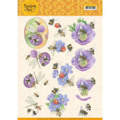 CD11337 3D knipvel - Jeanines Art - Buzzing Bees - Purple Flowers