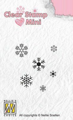 Nellies Choice Mini clearstempel - sneeuwvlokken MAFS011