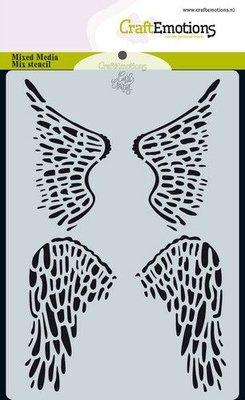CraftEmotions Mask stencil Angel & Bear - vleugels Carla Creaties