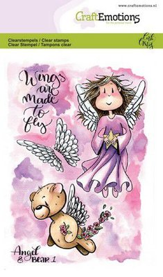 CraftEmotions clearstamps A6 - Angel & Bear 1 Carla Creaties