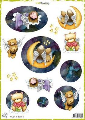 CraftEmotions Decoupage vel Angel & Bear 2 A4 170 grm Carla Creaties