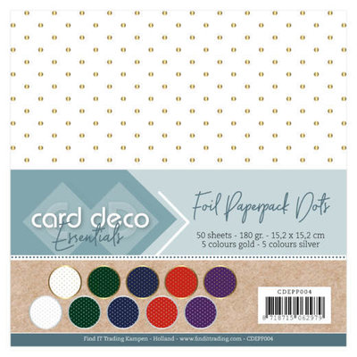 CDEPP004 Card Deco Essentials - Foil Paperpack Dots – 50 sheets -15x15cm