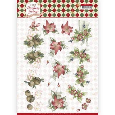 CD11317 3D Knipvel - Precious Marieke - Warm Christmas Feelings - Red Center Pieces