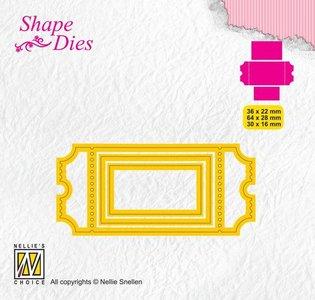 Nellies Choice Shape Die - ticket & tags - ticket 1 SD170 36x22/64x28/30x16mm