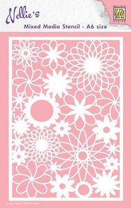 nellies Choice Mixed Media Stencils A6 bloemen MMSA6-006 A6 (09-19)