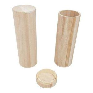 Houten wijnkist kokervorm 1 st. 36,5 cm x 12 cm