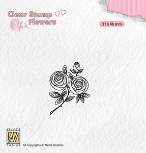 Nellie's Choice Clear stamps Flowers rozentak FLO026 31x40mm