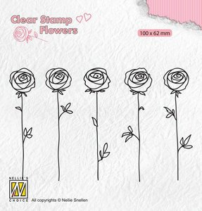Nellie's Choice Clear stamps Flowers - rozen FLO025 100x62mm