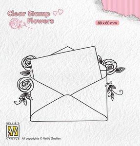 Nellie's Choice Clear stamps Flowers Love letter FLO023 88x60mm