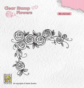 Nellie's Choice Clear stamps Flowers Rozen hoek FLO022 80x62mm