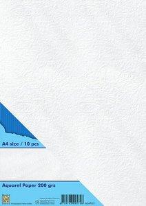Nellie's Choice Watercolor papier gladde structuur 10 vl AQAP001 A4 200gr