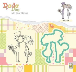 Nellie's Choice DADA Die & Clear stamp marriage - Kus DDCS026 50x60mm (01-20)