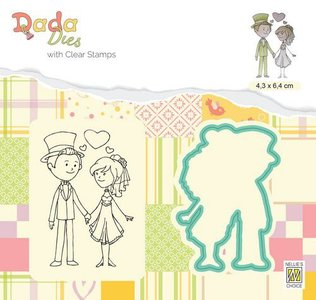 Nellie's Choice DADA Die & Clear stamp marriage - In Love DDCS024 43x65mm (01-20)