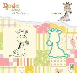 Nellie's Choice DADA Die & Clear stamp Cute Giraf DDCS023 39x54mm (01-20)