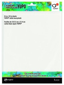 Ranger Alcohol Ink Ink Yupo Cardstock White Heavystock 20,3x25,4cm 5 vel TAC69744