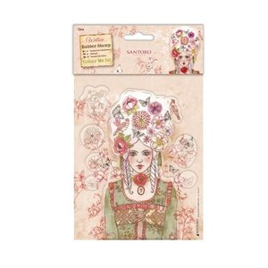 WIL907102 Colour Me In Rubber Stamps - Santoro - Marie-Antoinette