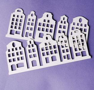 C004 Chipboard - Wycinanka - Grachtenhuis - 6 x 15cm - 2 stuks