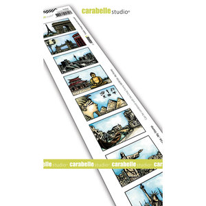 Carabelle Studio Cling stamp edge 8 labels voyage du monde SED0040