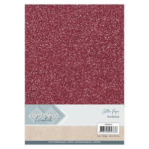 CDEGP016 Card Deco Essentials Glitter Paper Bordeaux A4 230 grs 6 vel