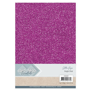 CDEGP007 Card Deco Essentials Glitter Paper Bright Pink A4 230 grs 6 vel