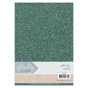 CDEGP004 Card Deco Essentials Glitter Paper Dark Teal A4 230 grs 6 vel