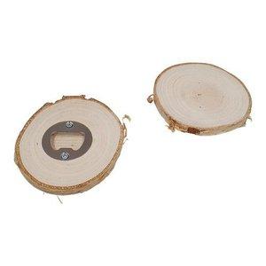 Houten Flessen opener / onderzetter schors rond berkenhout  diameter: +- 9-10 cm H: +- 0,9 cm