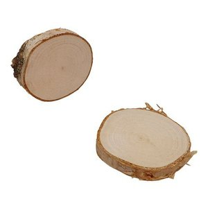 Boomschorsschijf rond berkenhout  Diameter +- 9-10 CM H: +- 0,7 cm