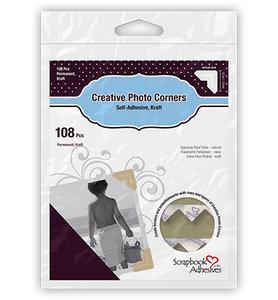 3L Scrapbook Adhesives - Photo Corners - Kraft - Permanent Adhesive 12mm