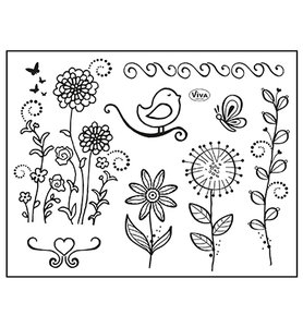 400321800 ViVa Decor - Clear Stamp - Vogel & Schmetterling -14x18cm