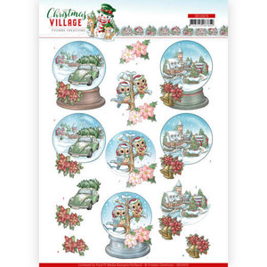 SB10476 3D Push Out Yvonne Creations Christmas Village Christmas Globes