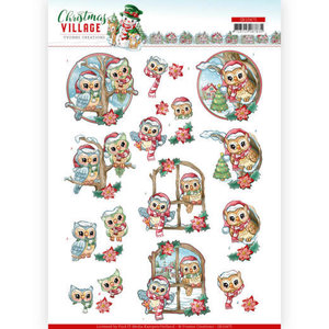 SB10475 3D Push Out Yvonne Creations Christmas Village Christmas Owls