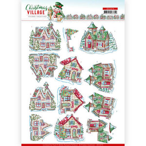 SB10474 3D Push Out Yvonne Creations Christmas Village Christmas Houses