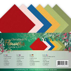 JA-A5-10011 Linen Cardstock Pack A5 Jeanines Art  Christmas Flowers
