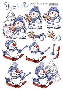 CD11550 3D Cutting Sheet - Yvon's Art - Snowmen